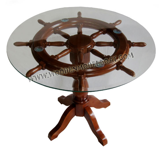 ship wheel table with glass top